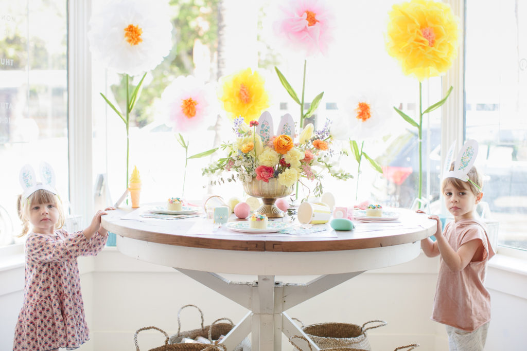 Easter Tablescape with Large Tissue Paper Flowers